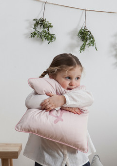 Children's Jumping Hare Cushion in Dusty Pink