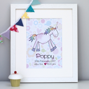 Unicorn Personalised Artwork Picture