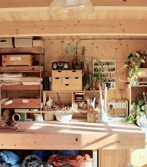 Workbench in my wood cabin workshop in the heart of Suffolk