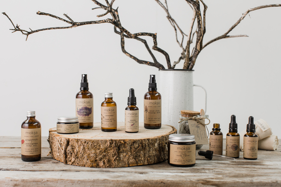 The full Moksa product collection of award-winning, natural skincare handmade with plant-based oils and essential oils in rural Devon.