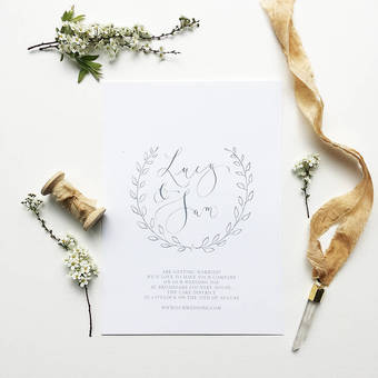Beautifully minimal calligraphy wedding invitations