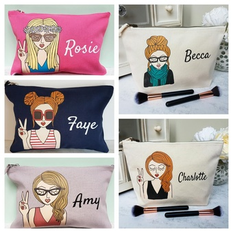 A speciality of Syd&Co is personalised make up bags.  Create the look of yourself or someone special and add a name.