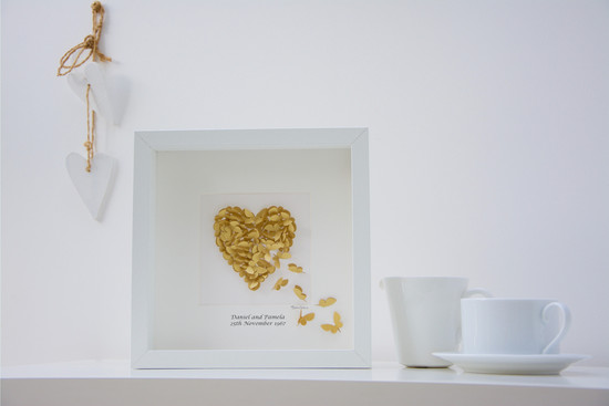 A unique handmade personalised golden wedding anniversary butterfly heart