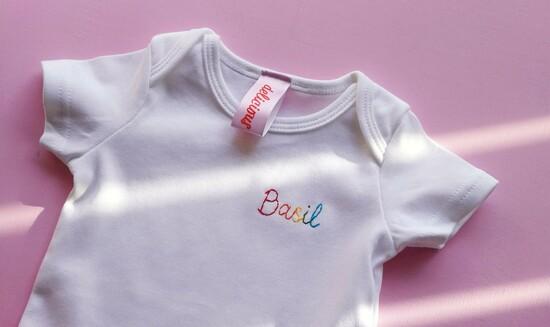 hand embroidered birth year organic cotton t-shirt