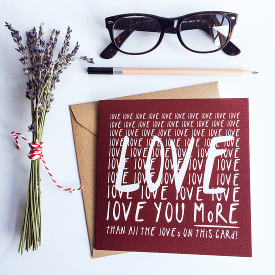 L O V E greeting card