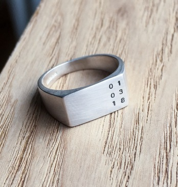 Time or date silver ring