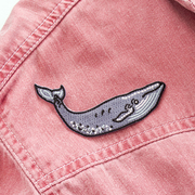 Blue Whale Embroidered Patch