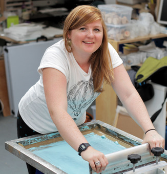 Beth from Boodle printing in her studio