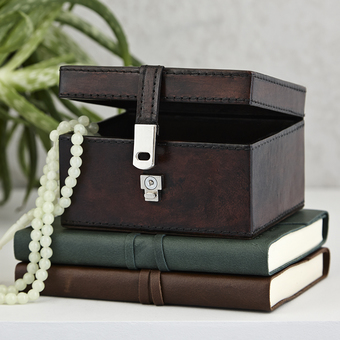 Stud or Trinket box in dark brown leather