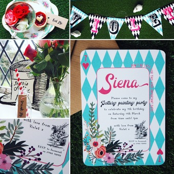 Alice in Wonderland invitations, tags+bunting
