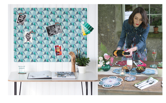 'Shards' design magnetic notice board in 'Ocean' colour way and Succulent design placemats and coasters
