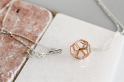 Hollow Dodecahedron Pendant - Rose Gold