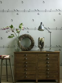 wallpaper birds on a wire contemporary home design