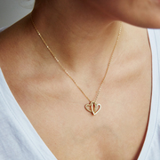 Lisa Angel Ladies' Personalised Solid Gold Interlocking Hearts Necklace