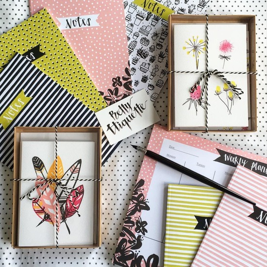 A collection of Betty Etiquette stationery and paper goods