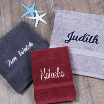 Personalised Towels in a variety of sizes and colours