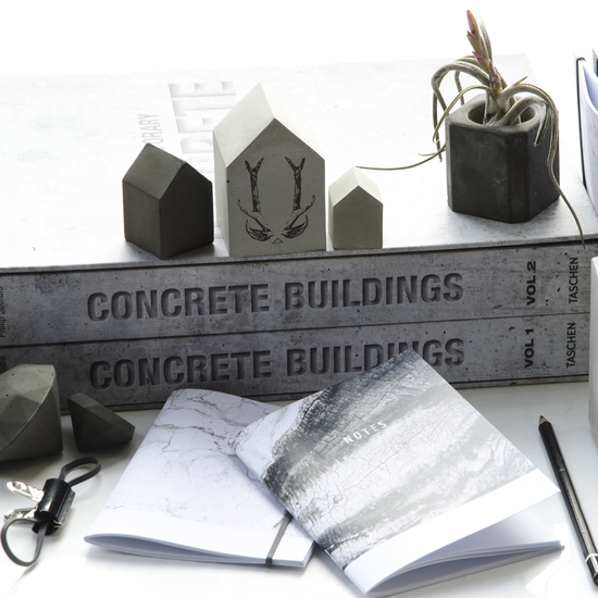 Concrete Art and Recycled Paper Pocket Journals
