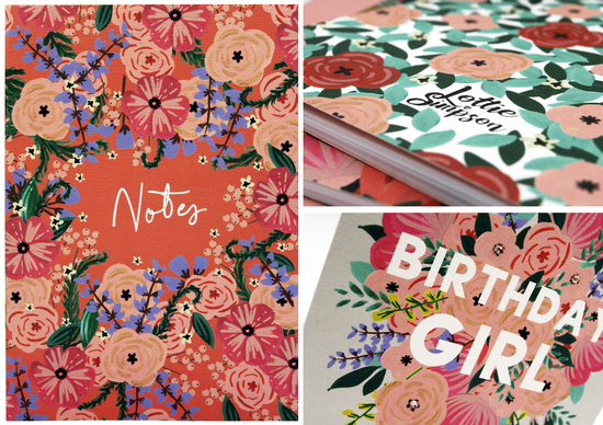 Lottie Simpson Floral Notebook from the 'Hello Beautiful' range. Birthday Girl birthday card also from the 'Hello Beautiful' range.