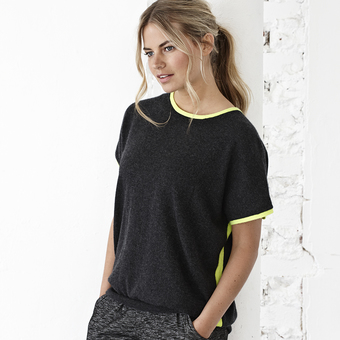 Charcoal and yellow neon cashmere jumper