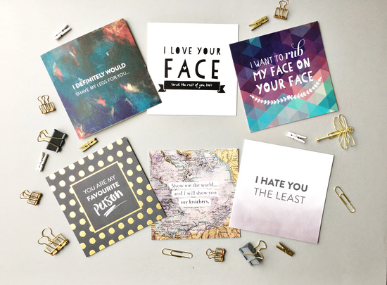 6 funny greetings cards - i hate you the least - i want to rub my face on your face - you're my favourite person - i love your face - i definitely would -