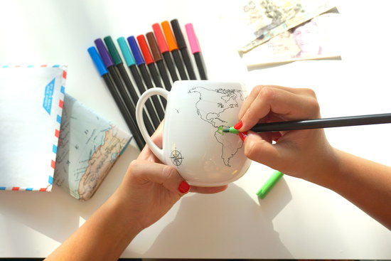Travel the World. Colour the World. Trouvaille map mugs and bags.