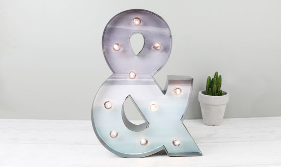 Lisa Angel Metal and Watercolour '&' Symbol LED Light