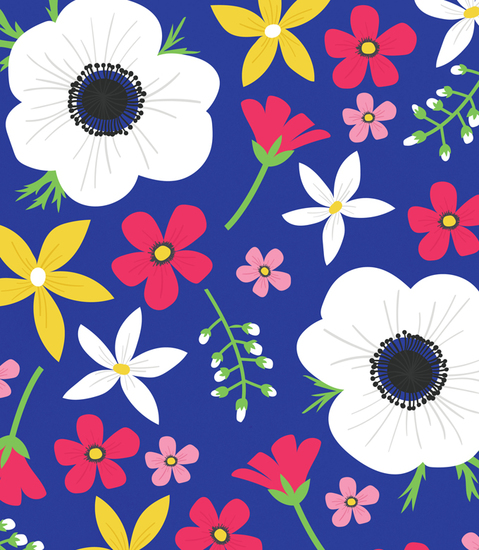 Blue Floral Print Design by Alice Potter