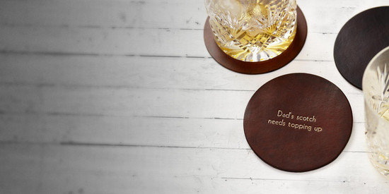 Hand Dyed Personalised Leather Coasters