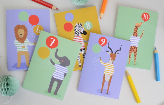 Children's animal age cards