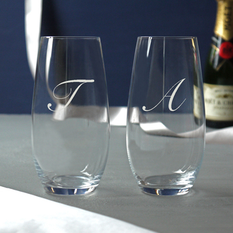 Stemless Initial Champagne Flutes