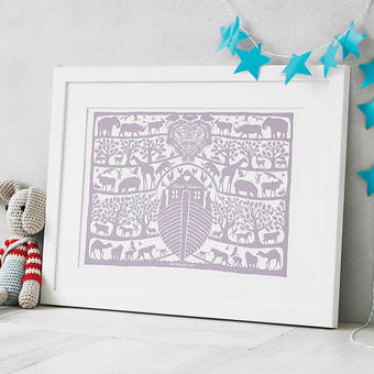 My best selling Noah's Ark print for births and christenings
