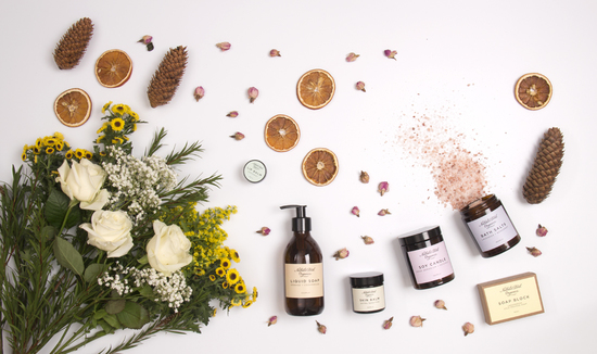 natural skincare products and candles