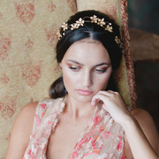 Agnes Walker Flora Gold Bridal Headpiece