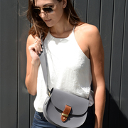 N'Damus London Victoria Grey Leather Crossbody Bag