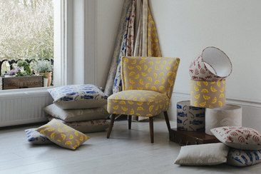 Jenny Sibthorp Lifestyle image with Lemons Cocktail Chair Cushions and Lampshades Interiors Linen