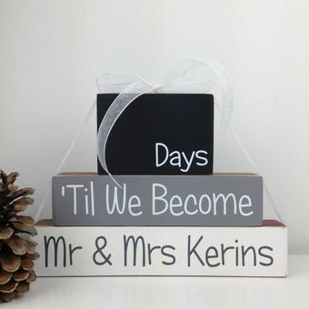 Personalised Wedding Countdown Blocks