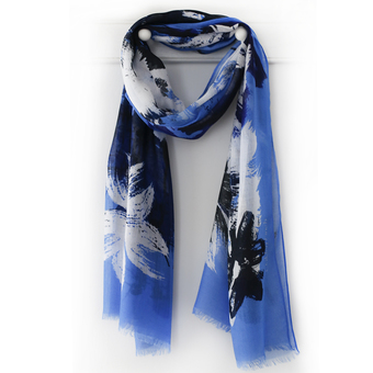 Vivid Blue, Black and White Brushstroke Floral