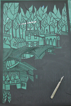 paper cut in progress by Caroline Rees