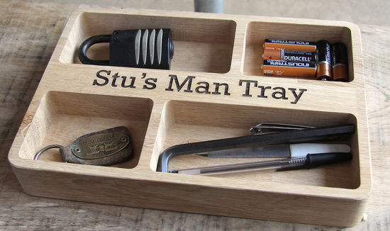 Personalised Oak Organiser 'Man Tray' made by Cleancut Wood