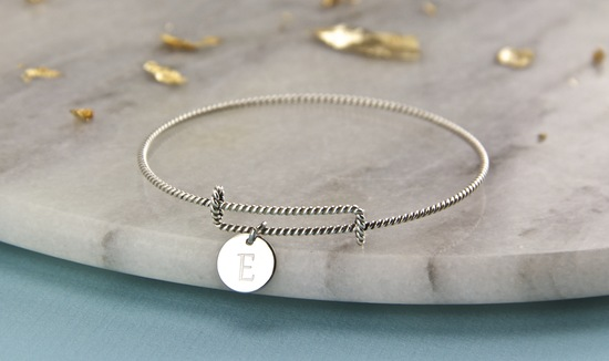 Sterling silver expandable bangle with personalised engraved disc