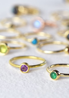 Our Nebula stacking rings are made from solid gold and silver