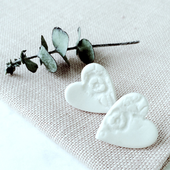 Porcelain Heart Earrings