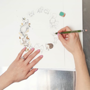 Artist illustrating a children's nursery Art design