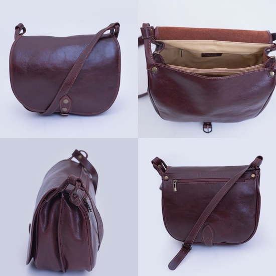 Large Italian leather brown saddle bag