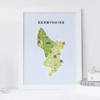 Illustrated map of Derbyshire