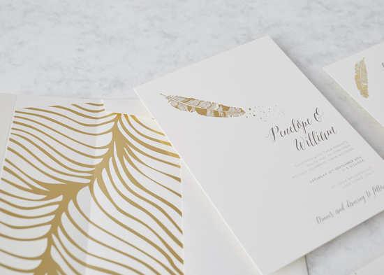 Avenue litho storefront notonthehighstreet luxury gold feather wedding invitation stopboris Image collections