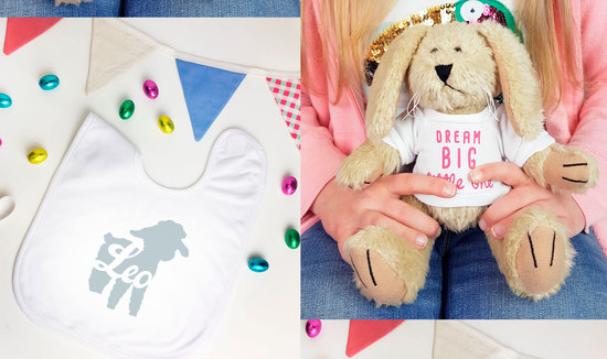 Personalised Easter Silhouette Bib and Bunny Rabbit Soft Toy