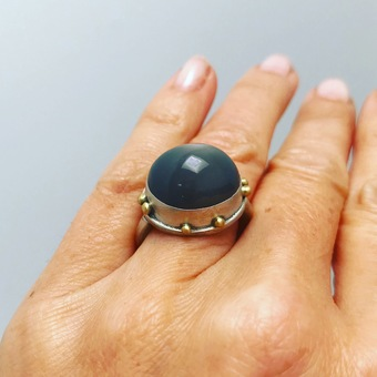 Moonstone Ring set in Sterling Silver and 18ct Gold Granulation by BLJ Jewellery