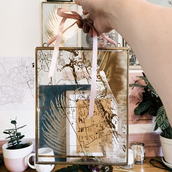 personalised clear glass map coral & moss