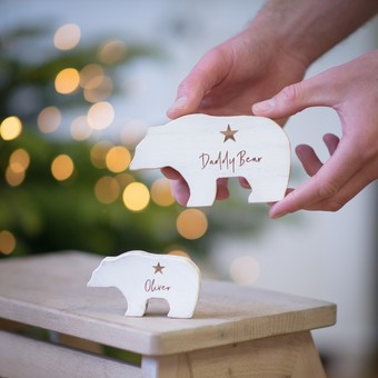 Baby's First Christmas Personalised Wooden bear Keepsake